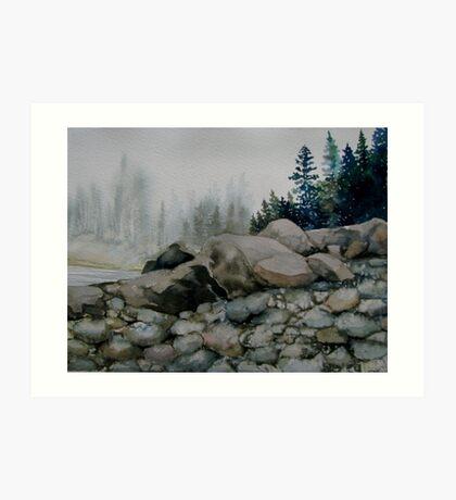 Lake Superior shoreline in the fog Art Print