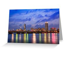 Harvard Bridge, colorful reflection Greeting Card