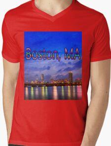 Harvard Bridge, colorful reflection Mens V-Neck T-Shirt