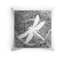 White Dragonfly Throw Pillow