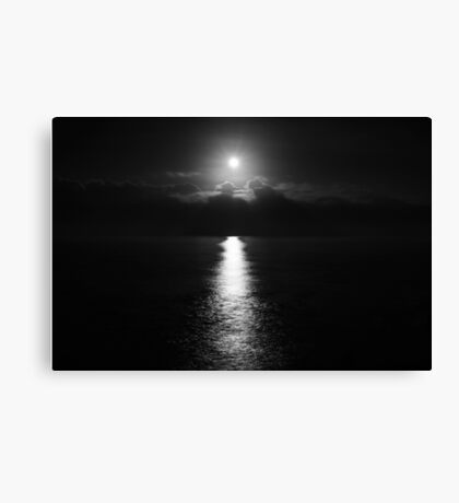 MOONSET  in B & W Canvas Print