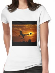 sports statue in city Womens Fitted T-Shirt