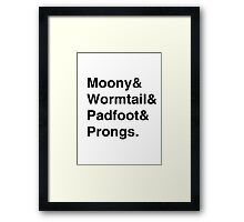 Moony & Wormtail & Padfoot & Prongs. Framed Print