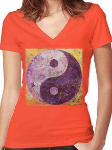 Purple Yin Yang Women's Fitted V-Neck T-Shirt