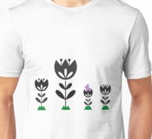 Black Tulips with floating butterfly Unisex T-Shirt