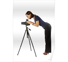 beautiful female photographer with big camera Poster