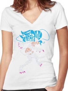Felicia Typography Women's Fitted V-Neck T-Shirt