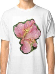 Pretty pink flower rain wet Classic T-Shirt