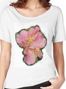 Pretty pink flower rain wet Women's Relaxed Fit T-Shirt