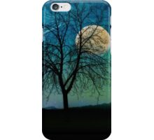 Solitude, Harvest Moon shooting star blue-green sky iPhone Case/Skin