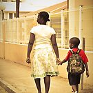 Momma walks me to school... St Martin, NA by Susana Weber