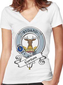 00034 Gordon Clan/Family Tartan Women's Fitted V-Neck T-Shirt