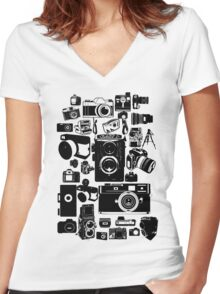 Cameras Women's Fitted V-Neck T-Shirt