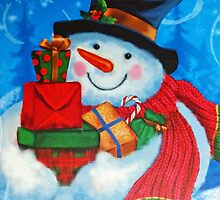 Snowman bearing Gifts by Susan S. Kline