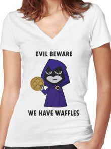 Evil Beware: We Have Waffles Women's Fitted V-Neck T-Shirt