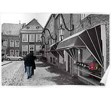 Selective colouring - three in Holland.  Poster