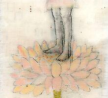 Stepping Into Lotus yoga inspired art by JodiFuchsArt