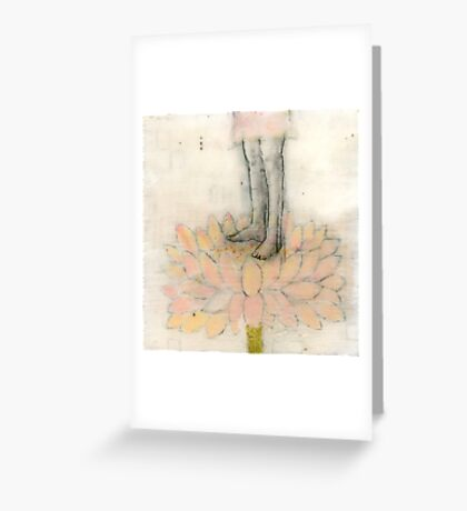 Stepping Into Lotus yoga inspired art Greeting Card