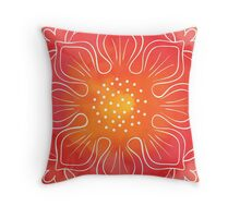 Watercolor red lotus Throw Pillow