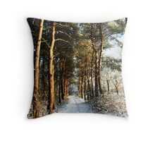 Forest Snow Scene Throw Pillow