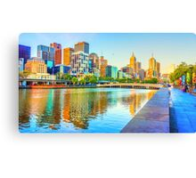 Melbourne Skyline Yarra Reflections from Southbank Canvas Print