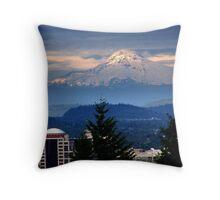 Mt. Hood and Portland Throw Pillow