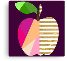 Modern Geometric APPLE Fruit Purple Pink Coral Peach Magenta Fuchsia Gold Stripes White Green Stem Leaf Abstract Pop Art Canvas Print