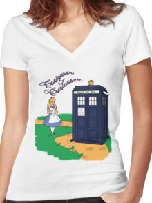 Curiouser & Curiouser Women's Fitted V-Neck T-Shirt