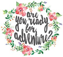 Watercolor Flower Wreath Ready For Adventure by junkydotcom