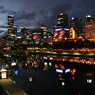 Melbourne city skyline at sunset by Sangeeta