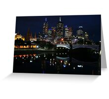 Melbourne city skyline at night Greeting Card