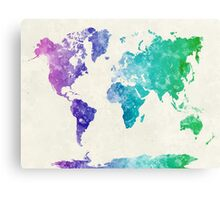 World map in watercolor multicolored Metal Print