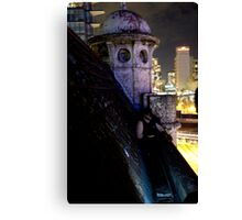 A caped crusader watches over gotham Canvas Print