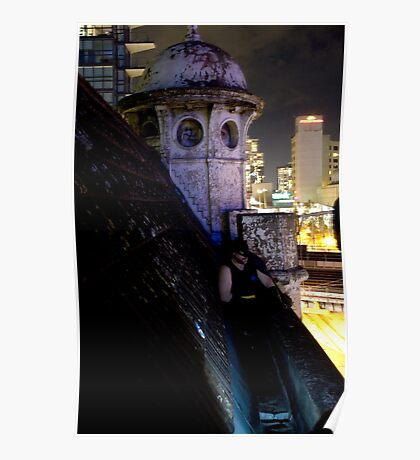 A caped crusader watches over gotham Poster