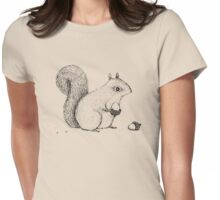 Monochrome Squirrel Womens Fitted T-Shirt