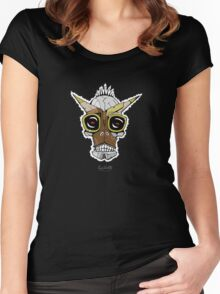 Horned Goggle Skull Women's Fitted Scoop T-Shirt