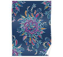 Deep Summer - Watercolor Floral Medallion Poster