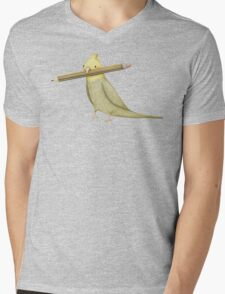 Cockatiel & Pencil Mens V-Neck T-Shirt