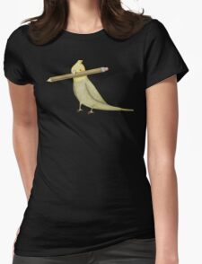 Cockatiel & Pencil Womens Fitted T-Shirt
