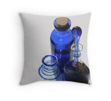 Early morning light through blue glass bottles Throw Pillow