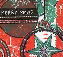 Xmas Baubles 30 Merry Xmas -  Gelli Plate Print and Ink by Heatherian
