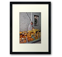 The man & the orange cheese Framed Print