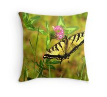 Butterfly in Red Clover Throw Pillow