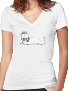 Ermine in Hat & Scarf Women's Fitted V-Neck T-Shirt
