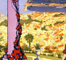 Monaco. Monte-Carlo Vintage Travel Poster Restored Sticker