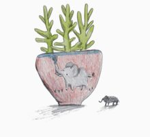 Succulent in Elephant Planter One Piece - Short Sleeve