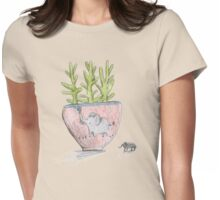 Succulent in Elephant Planter Womens Fitted T-Shirt
