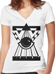dark psychic attack Women's Fitted V-Neck T-Shirt