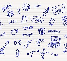Collection of business, doodle sketch objects and elements.  by SunshineArt