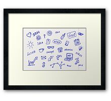 Collection of business, doodle sketch objects and elements.  Framed Print